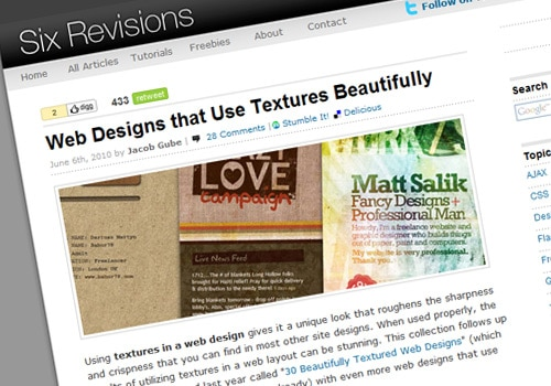 Web Designs that Use Textures Beautifully
