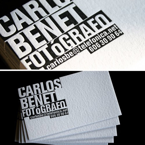 Carlos Benet Letterpress Business Card by Francisco Giner