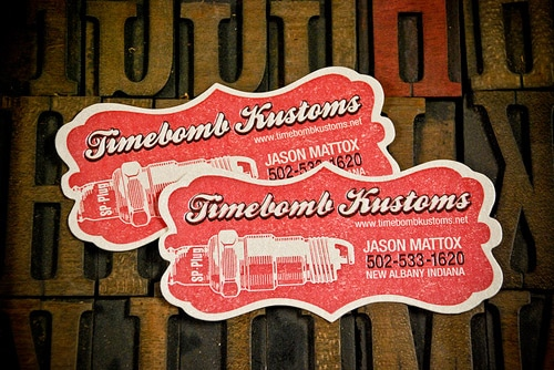 Timebomb Kustoms Letterpress business card