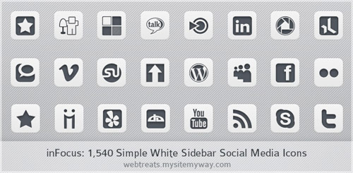 1,540 inFocus Simple White Social Media Icons – Sidebar Edition