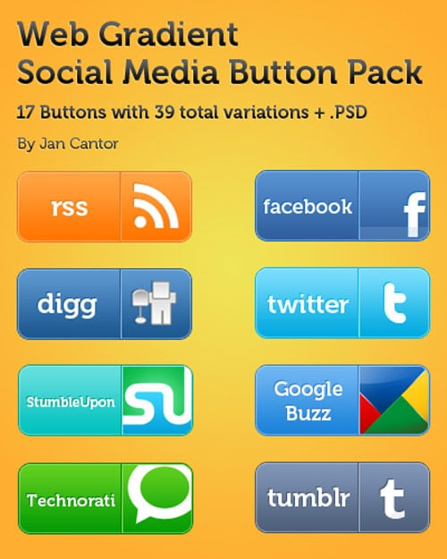 Web Gradient Social Media Button Pack