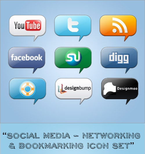 Networking & Bookmarking Icon Set
