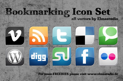 Social Bookmarking Vektor-Icons zum Downloaden