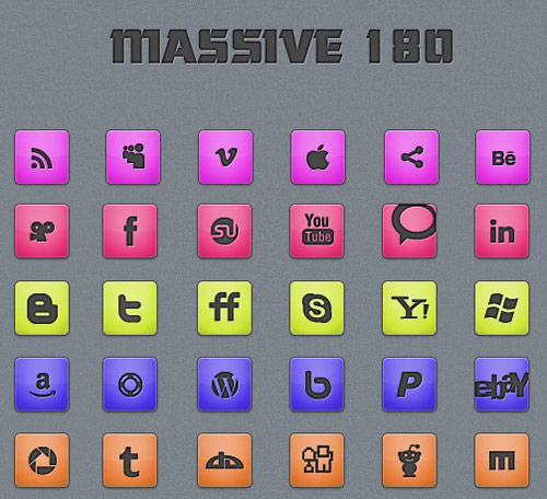 +180 Massive Minimalistic Icon set