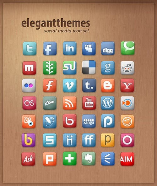 Elegant Themes - Free Social Media Icon Set