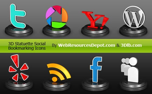 Exclusive 3D Statuette Social Bookmarking Icons