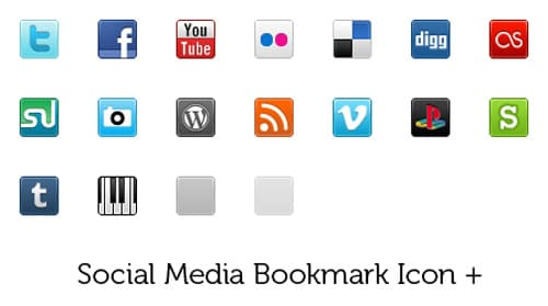 Social Media Bookmark Icon +