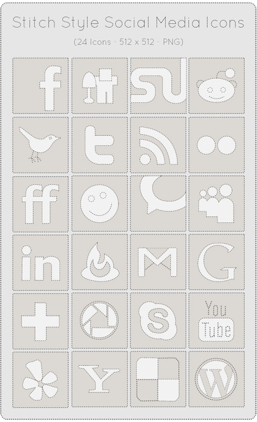 24 Stitch Styled Social Media Icons Set