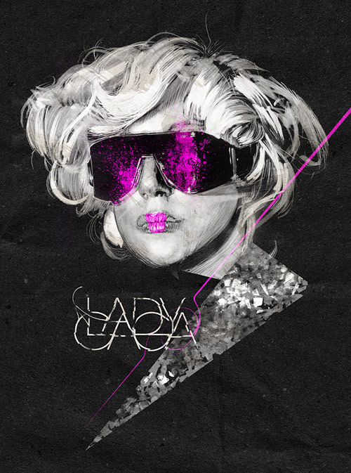 Lady Gaga - Pencil, pantones, ink and photoshop.