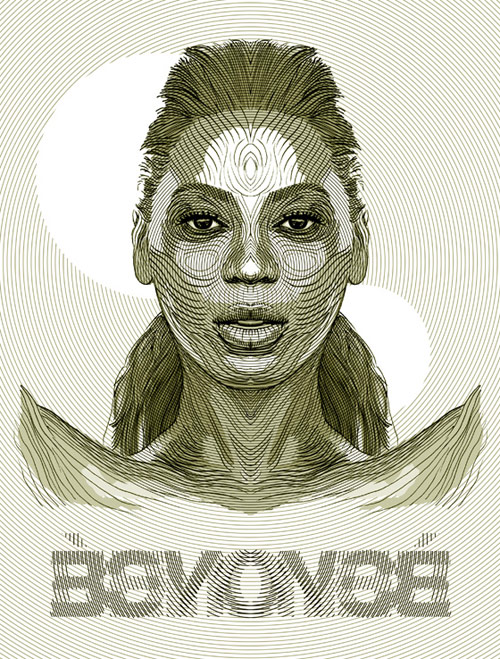 Beyoncé - Pen, Illustrator and Photoshop.