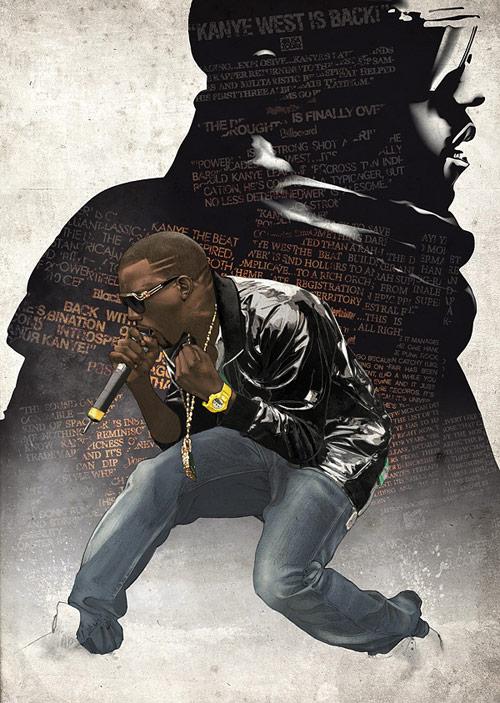 Kanye West - Pencil, Illustrator and Photoshop.