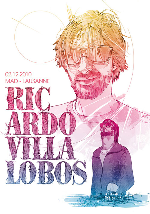 Ricardo Villalobos - Illustration for Mad Club - Lausanne. Pencil & Photoshop.
