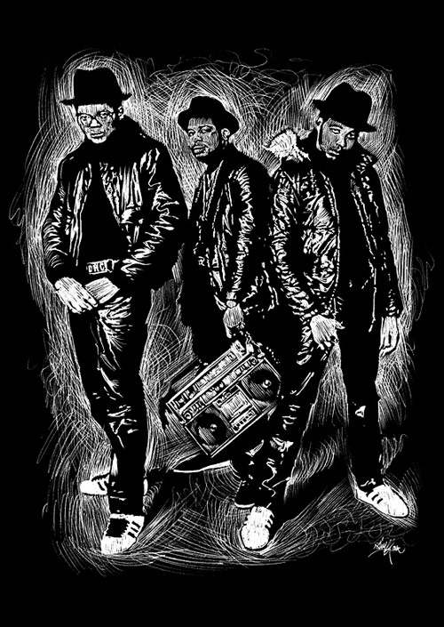 "Run-DMC - Illustration for ""DROP"" Exposition in Lausanne. Negative drawing process with pencil."