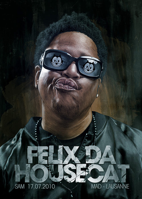 Felix Da Housecat - Illustration for Mad Club - Lausanne. Pencil and Photoshop.