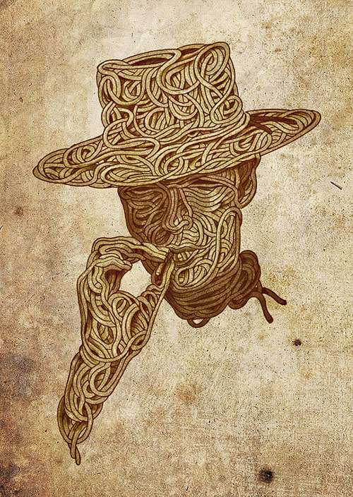 Spaghetti Western - Illustration for poster. Pencil and Photoshop.