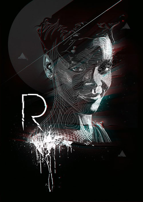Rihanna - Negative drawing process. Pencil + Photoshop.