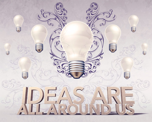 Create an Artistic Scene with 3D Light Bulbs and Type