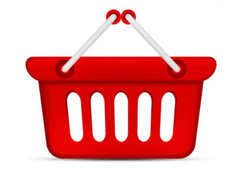 PSD red shopping basket icon