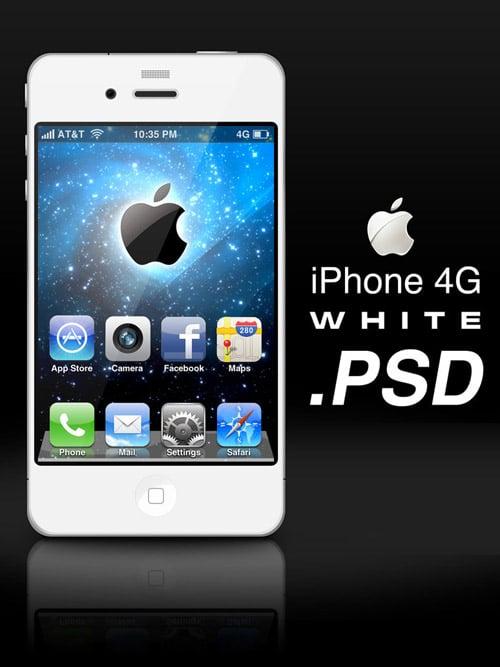 Apple iPhone 4G White .PSD by zandog