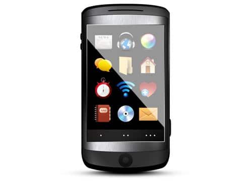 PSD mobile phone, black cellphone icon