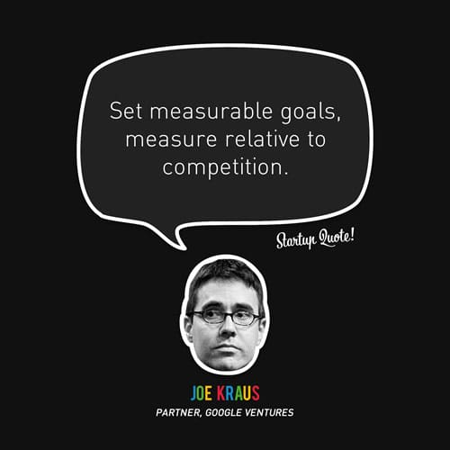 Set measurable goals, measure relative to competition.