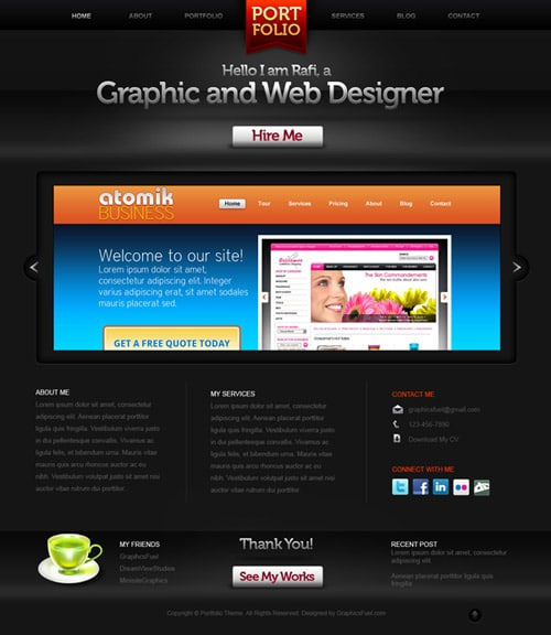 Psd website templates free high quality designs for Free portfolio website templates