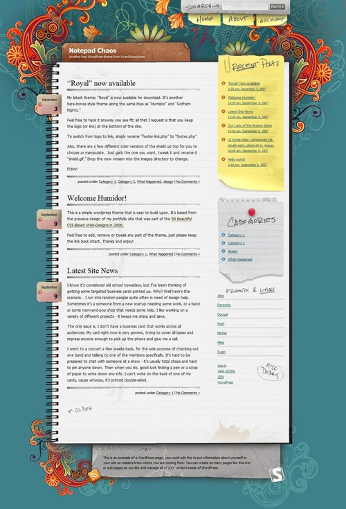 Notepad Chaos: A Free WordPress Theme