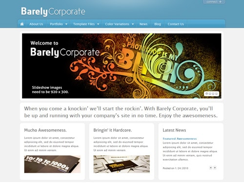 Free BarelyCorporate PSD by ThemeBlvd