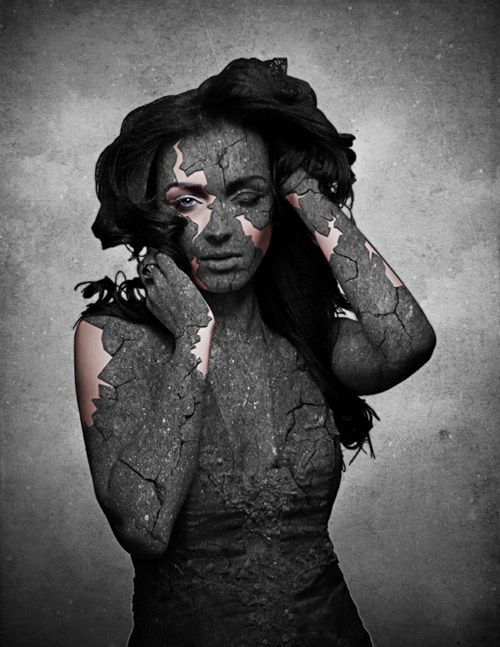 Grunge Stone Woman Photo Manipulation in Photoshop