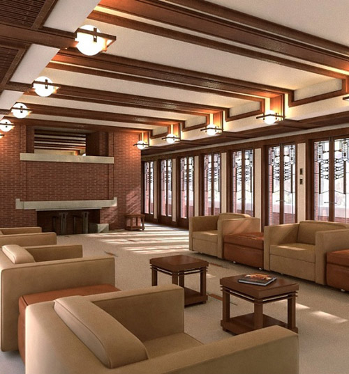 Modern interior designs beautifully rendered cg works of art Frank lloyd wright the rooms interiors and decorative arts