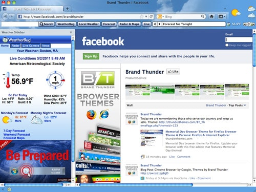 Interactive Weather Browser Theme for Firefox and IE