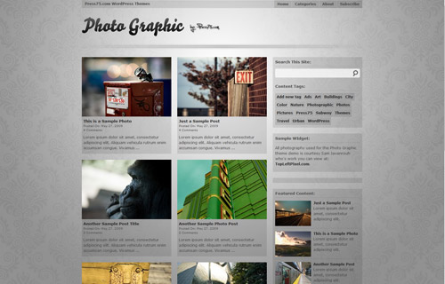 Photo Graphic is a simplistic photography-centric theme featuring a clean gallery style layout.