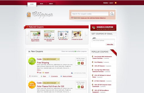 Clipper - The Premium Application Theme that turns your WordPress blog into a fully featured coupon codes site.