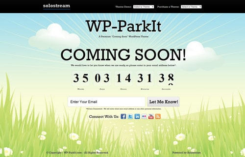 "WP-ParkIt ""Coming Soon"" Premium WordPress Theme"