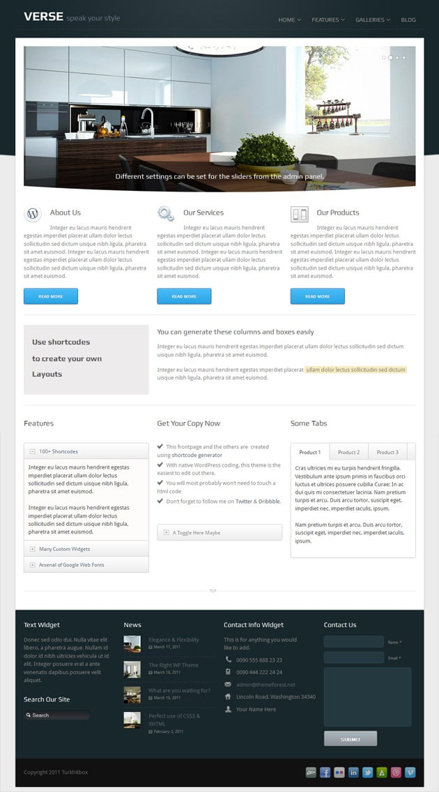 Frontpage layout of Verse WordPress Theme