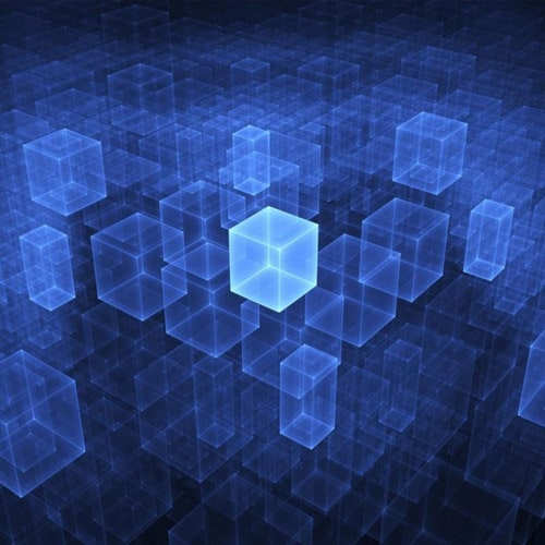 Rendered Blue Cubes - iPad Wallpaper