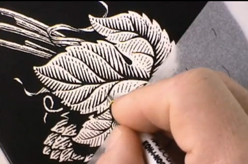 Scratchboard Drawing of Hops for Michelob Amber Bock