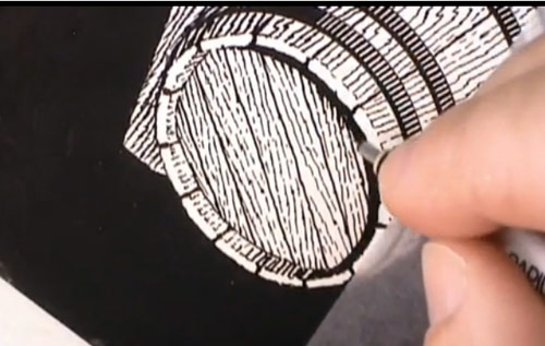 Scratchboard Illustration of a Beer Barrel for Samuel Adams Beer Barrel Collection