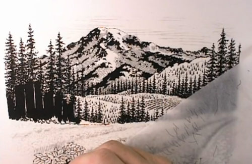 Scratchboard Illustration of Mount Rainier