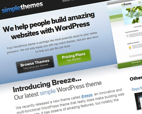Free and premium WordPress themes site featuring third party themes. Each theme posted has a thumbnail preview, download link, and demo where available.
