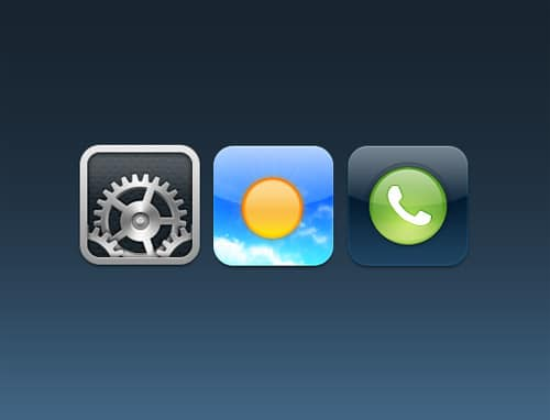 Settings, Weather, Phone iOS Icons ‹ 365psd
