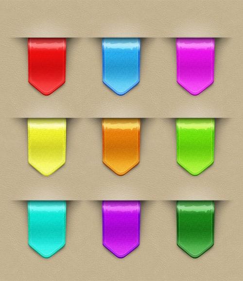 9 Colorful Web Ribbons | FREE PSD FILES
