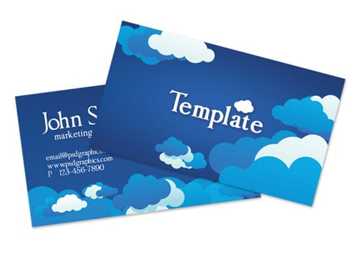 Blue cloudy sky business card template (PSD)