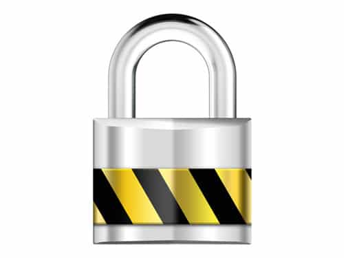 Silver padlock, security icon