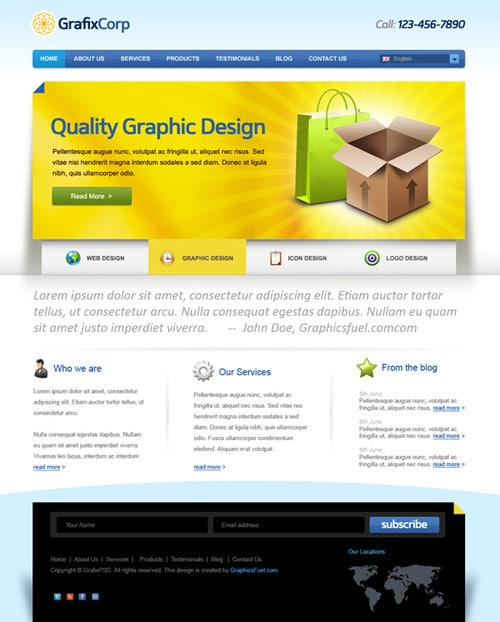 Elegant website PSD template
