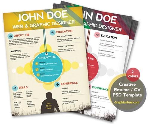 Creative resume / CV PSD template (CMYK print-ready)