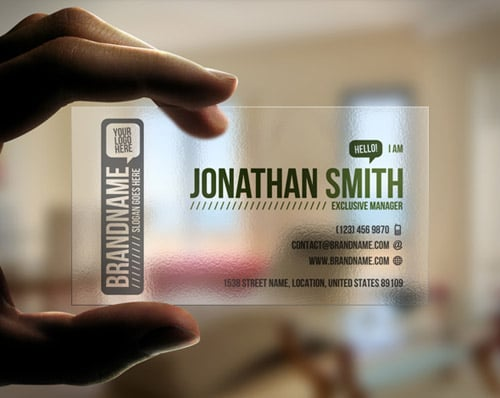 50 awesome business card ideas designrfix transparent business card reheart Gallery