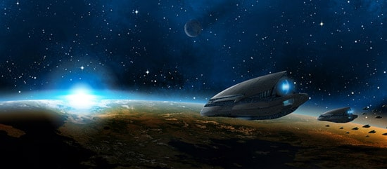 The Cosmos: Create a Green Planet, a Setting Sun, and a Space Ship in Photoshop