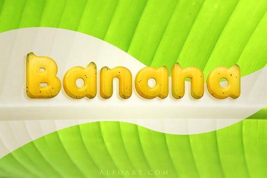 Banana style text effect. 3D funny and cute fruit text effect and free psd file.