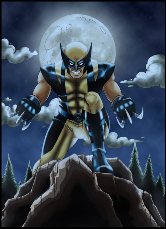 Wolverine at night by windriderx23
